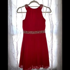 Red Beaded Formal Gown